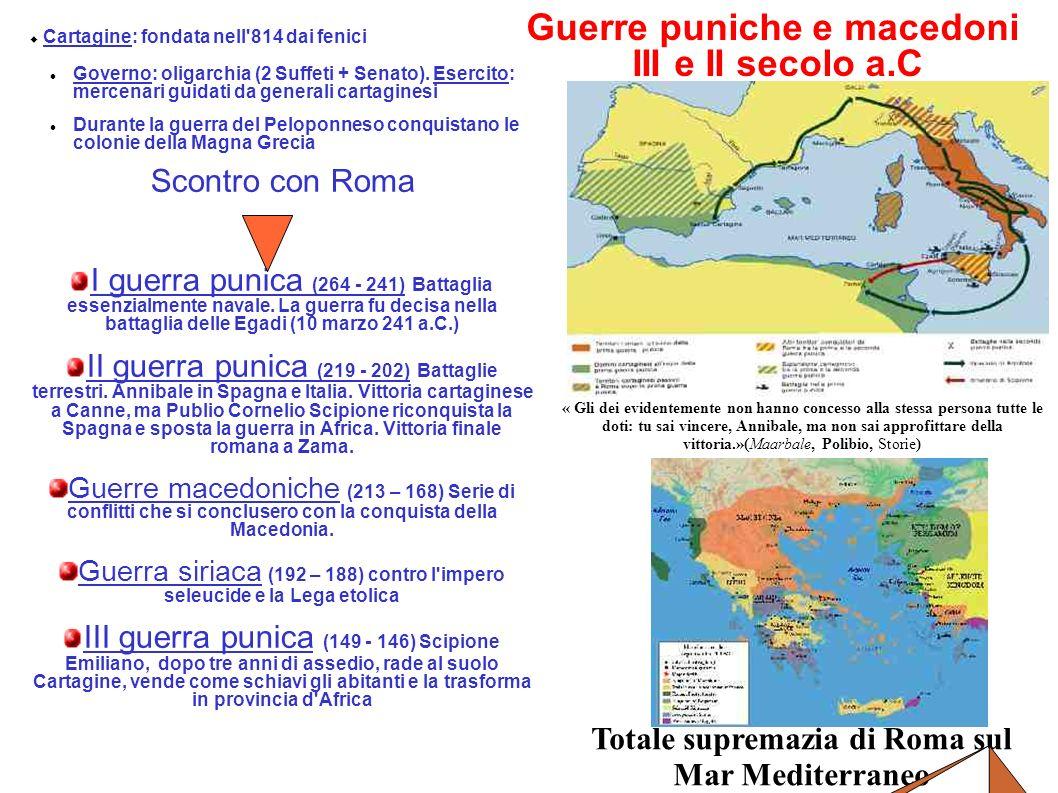 Guerre puniche e macedoni III e II secolo a.C Cartagine: fondata nell'814 dai fenici Governo: oligarchia (2 Suffeti + Senato). Esercito: mercenari gui