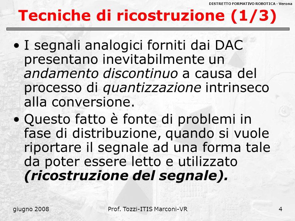 DISTRETTO FORMATIVO ROBOTICA - Verona giugno 2008Prof. Tozzi-ITIS Marconi-VR4 Tecniche di ricostruzione (1/3) I segnali analogici forniti dai DAC pres