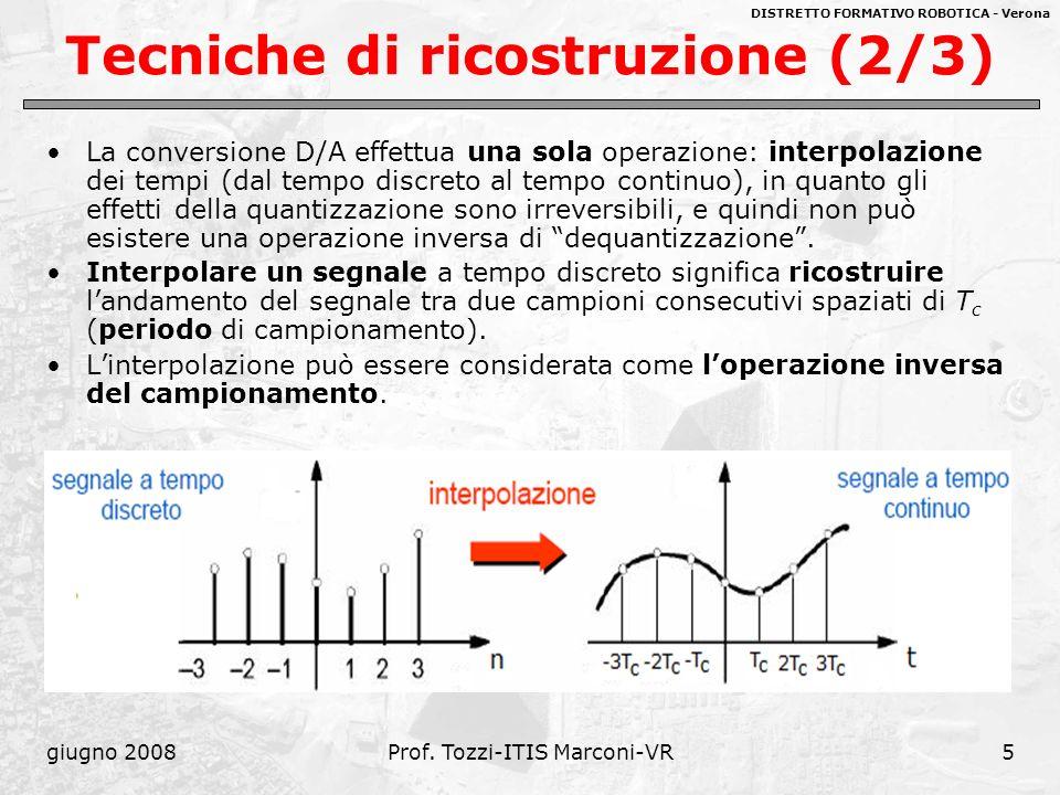 DISTRETTO FORMATIVO ROBOTICA - Verona giugno 2008Prof. Tozzi-ITIS Marconi-VR5 Tecniche di ricostruzione (2/3) La conversione D/A effettua una sola ope