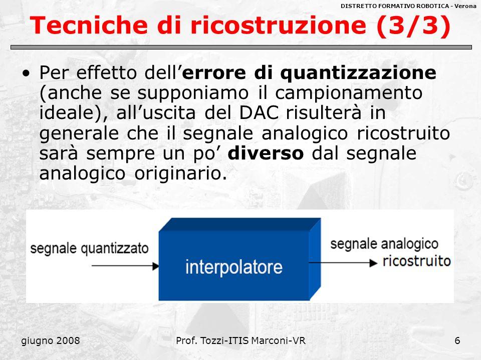 DISTRETTO FORMATIVO ROBOTICA - Verona giugno 2008Prof. Tozzi-ITIS Marconi-VR6 Tecniche di ricostruzione (3/3) Per effetto dellerrore di quantizzazione