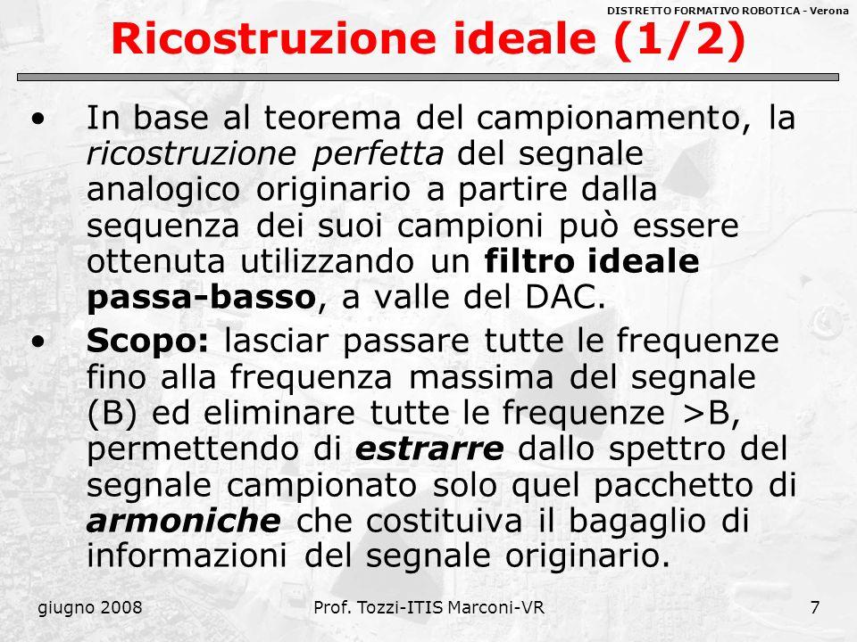 DISTRETTO FORMATIVO ROBOTICA - Verona giugno 2008Prof. Tozzi-ITIS Marconi-VR7 Ricostruzione ideale (1/2) In base al teorema del campionamento, la rico