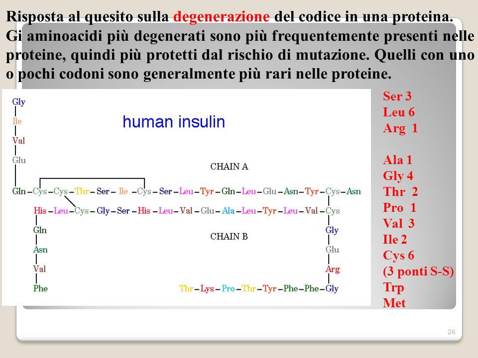 26 Risposta al quesito sulla degenerazione del codice in una proteina. Gi aminoacidi più degenerati sono più frequentemente presenti nelle proteine, q