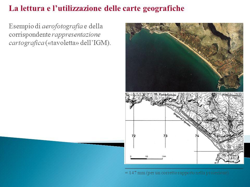 La lettura e lutilizzazione delle carte geografiche Esempio di aerofotografia e della corrispondente rappresentazione cartografica («tavoletta» dellIG
