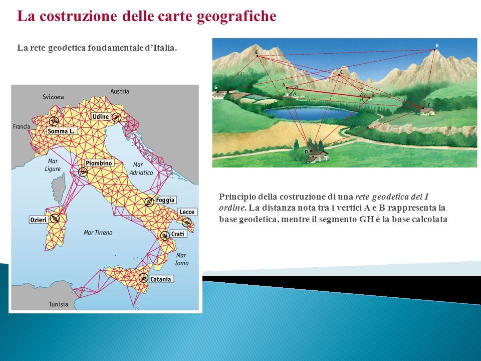 La costruzione delle carte geografiche La rete geodetica fondamentale dItalia. Principio della costruzione di una rete geodetica del I ordine. La dist