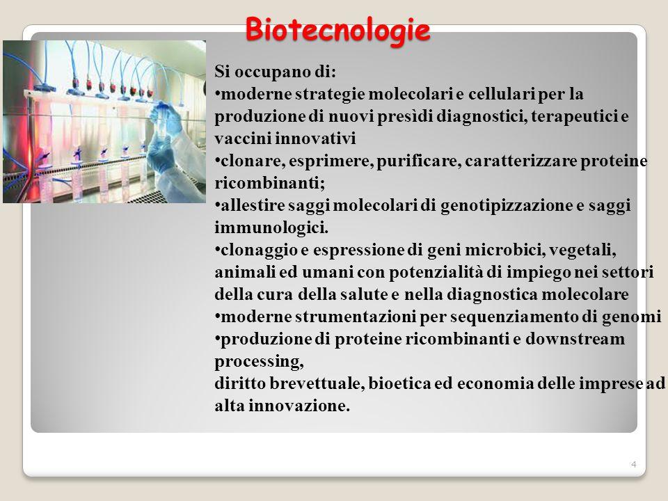 Biotecnologie Si occupano di: moderne strategie molecolari e cellulari per la produzione di nuovi presìdi diagnostici, terapeutici e vaccini innovativ