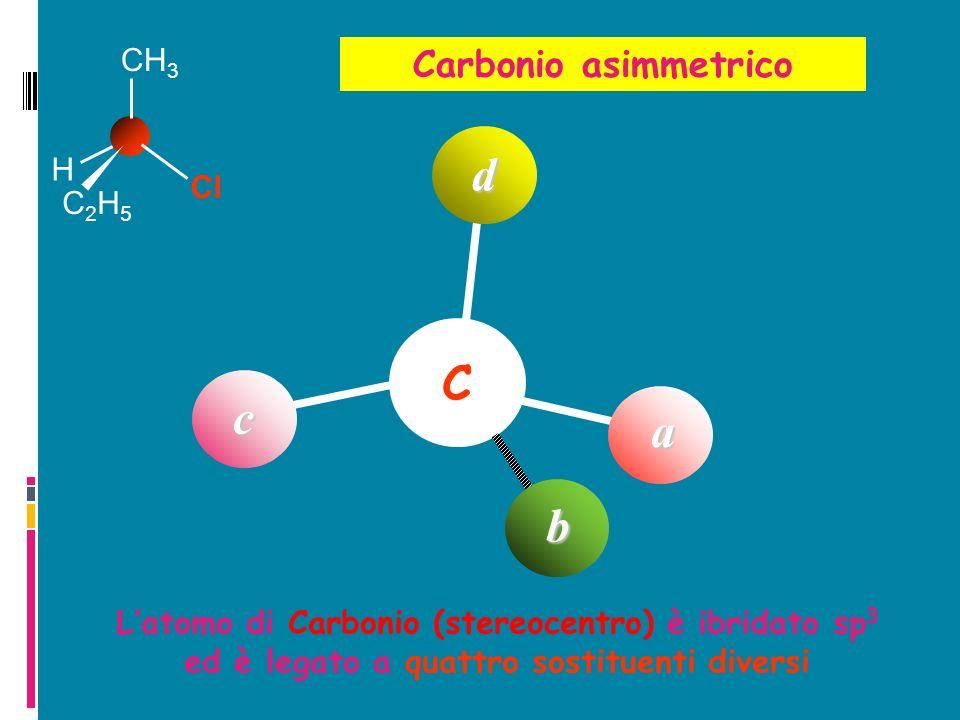 C a b d Latomo di Carbonio (stereocentro) è ibridato sp 3 ed è legato a quattro sostituenti diversi Carbonio asimmetrico H C2H5C2H5 Cl CH 3 c