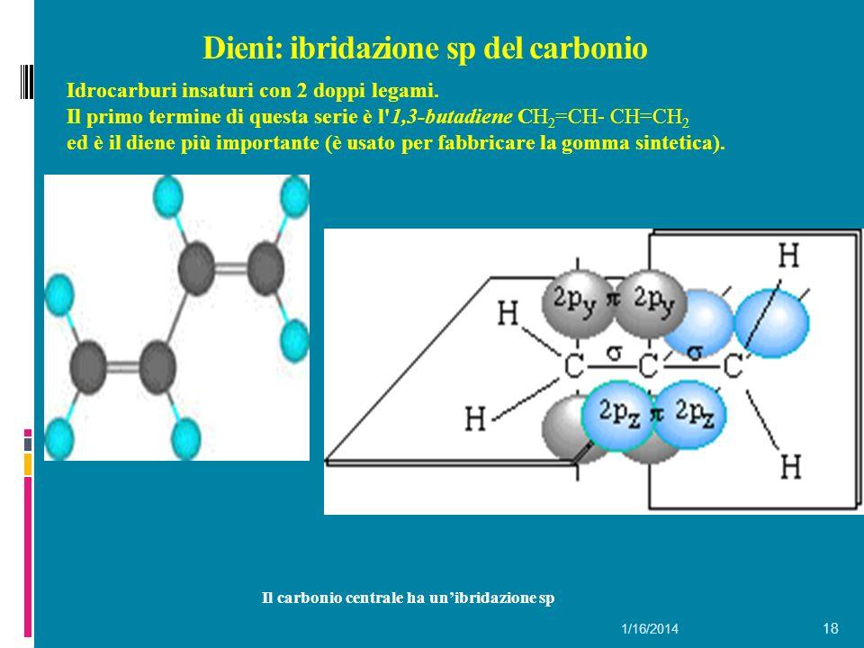 1/16/2014 18 Dieni: ibridazione sp del carbonio Il carbonio centrale ha unibridazione sp Idrocarburi insaturi con 2 doppi legami.