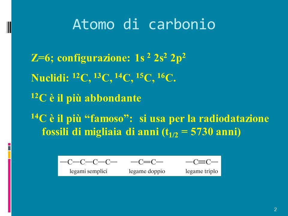 Atomo di carbonio Z=6; configurazione: 1s 2 2s 2 2p 2 Nuclidi: 12 C, 13 C, 14 C, 15 C, 16 C. 12 C è il più abbondante 14 C è il più famoso: si usa per