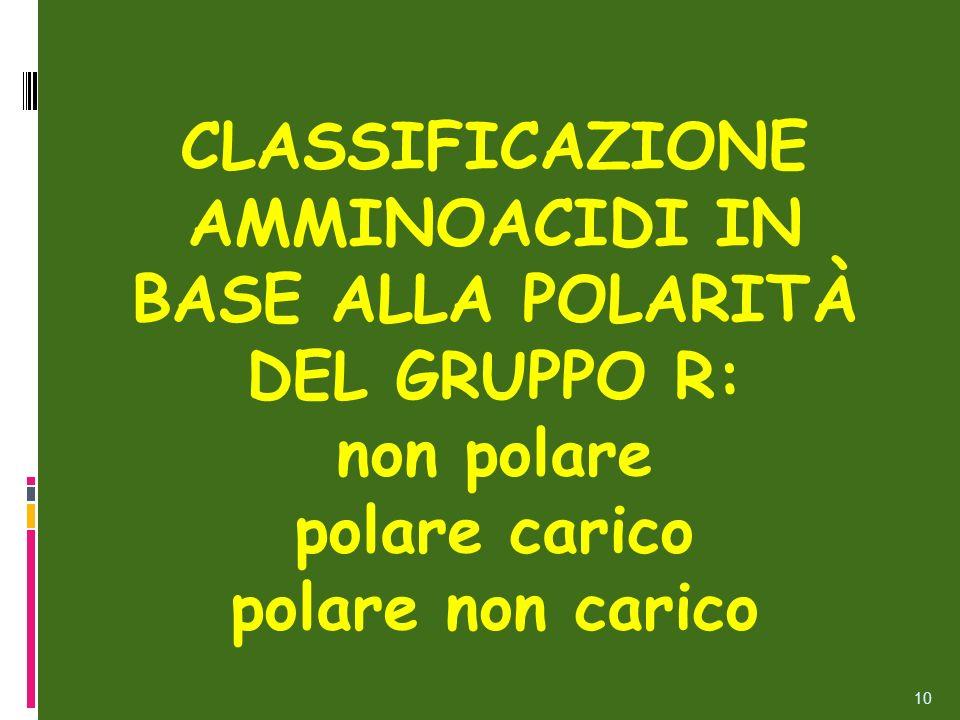 CLASSIFICAZIONE AMMINOACIDI IN BASE ALLA POLARITÀ DEL GRUPPO R: non polare polare carico polare non carico 10