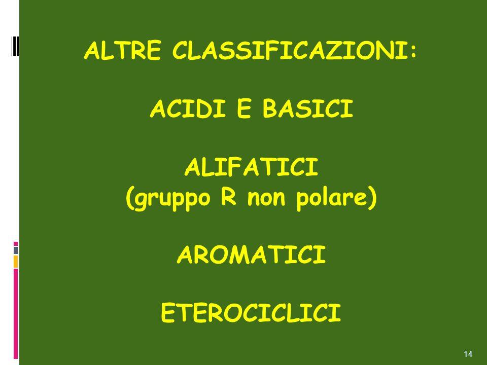 ALTRE CLASSIFICAZIONI: ACIDI E BASICI ALIFATICI (gruppo R non polare) AROMATICI ETEROCICLICI 14