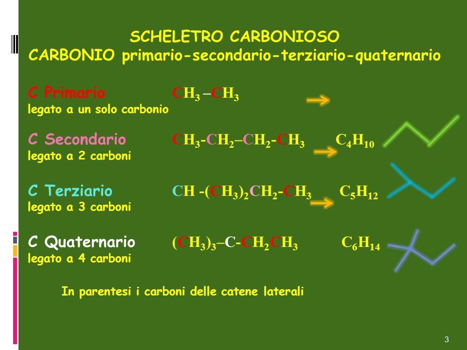 SCHELETRO CARBONIOSO CARBONIO primario-secondario-terziario-quaternario C Primario CH 3 –CH 3 legato a un solo carbonio C Secondario CH 3 -CH 2 –CH 2