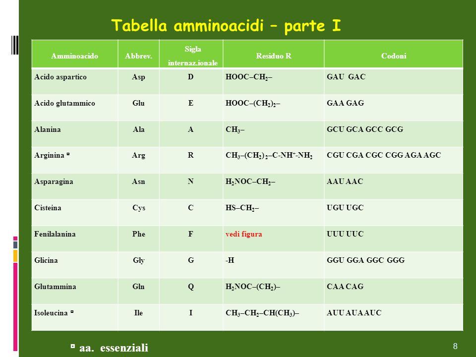 Tabella amminoacidi – parte I AmminoacidoAbbrev. Sigla internaz.ionale Residuo RCodoni Acido asparticoAspDHOOC–CH 2 –GAU GAC Acido glutammicoGluEHOOC–