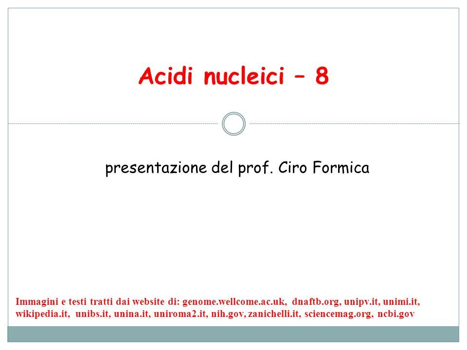 Acidi nucleici – 8 presentazione del prof. Ciro Formica Immagini e testi tratti dai website di: genome.wellcome.ac.uk, dnaftb.org, unipv.it, unimi.it,