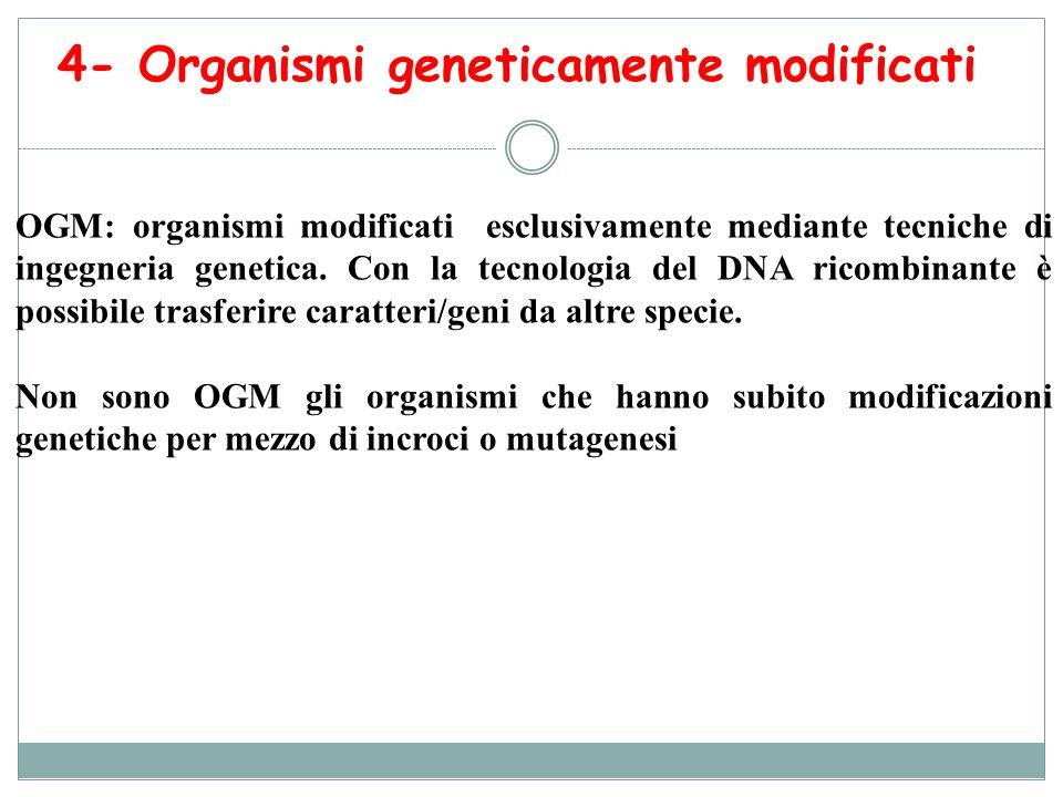 4- Organismi geneticamente modificati OGM: organismi modificati esclusivamente mediante tecniche di ingegneria genetica. Con la tecnologia del DNA ric
