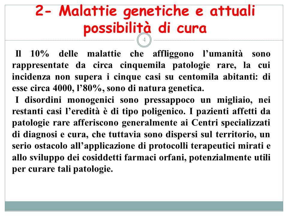 2- Malattie genetiche e attuali possibilità di cura 4 Il 10% delle malattie che affliggono lumanità sono rappresentate da circa cinquemila patologie r