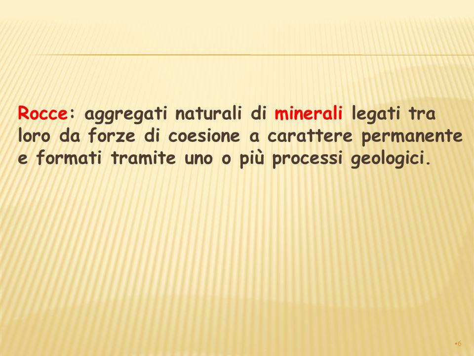 Rocce: aggregati naturali di minerali legati tra loro da forze di coesione a carattere permanente e formati tramite uno o più processi geologici. 6