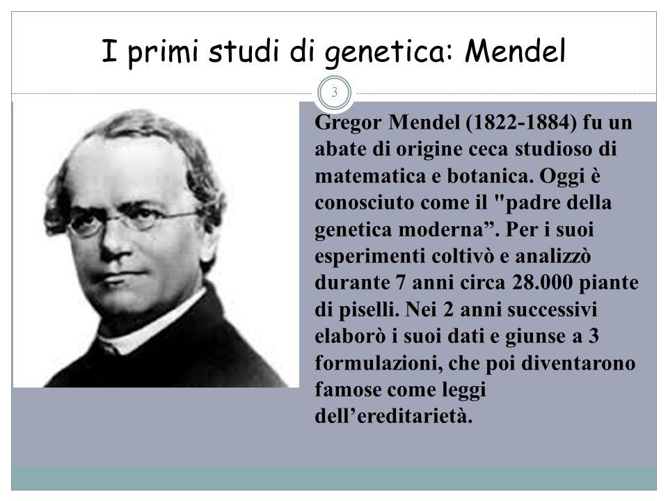 I primi studi di genetica: Mendel 3 Gregor Mendel (1822-1884) fu un abate di origine ceca studioso di matematica e botanica. Oggi è conosciuto come il