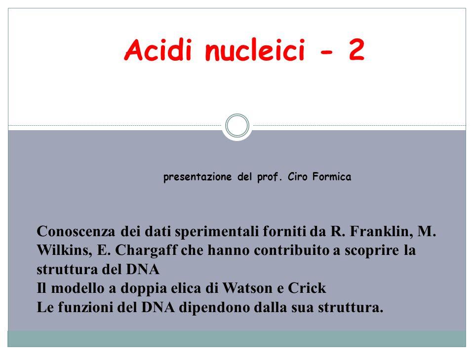 Acidi nucleici - 2 presentazione del prof. Ciro Formica Conoscenza dei dati sperimentali forniti da R. Franklin, M. Wilkins, E. Chargaff che hanno con