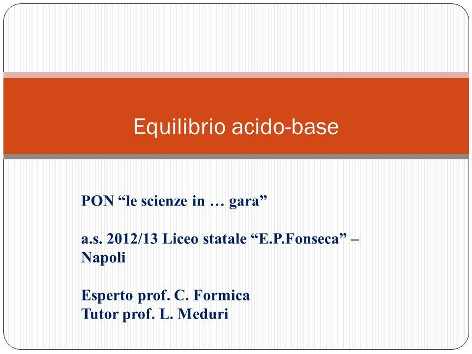 Equilibrio acido-base PON le scienze in … gara a.s. 2012/13 Liceo statale E.P.Fonseca – Napoli Esperto prof. C. Formica Tutor prof. L. Meduri