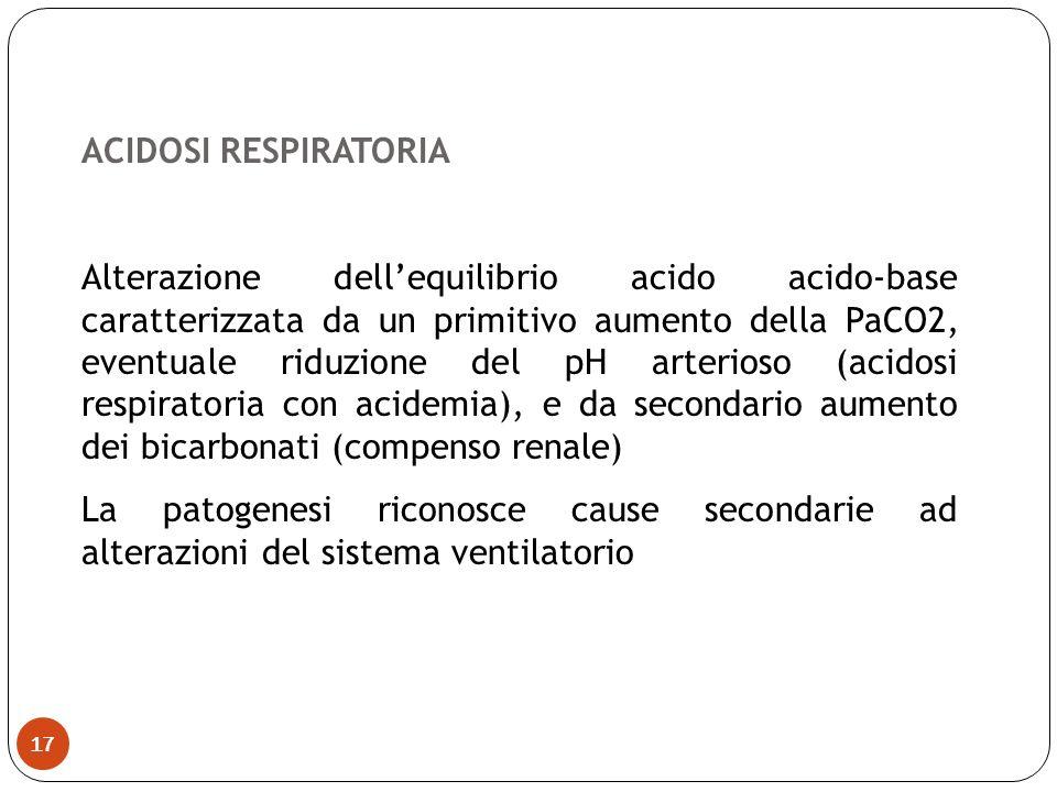 ACIDOSI RESPIRATORIA Alterazione dellequilibrio acido acido-base caratterizzata da un primitivo aumento della PaCO2, eventuale riduzione del pH arteri