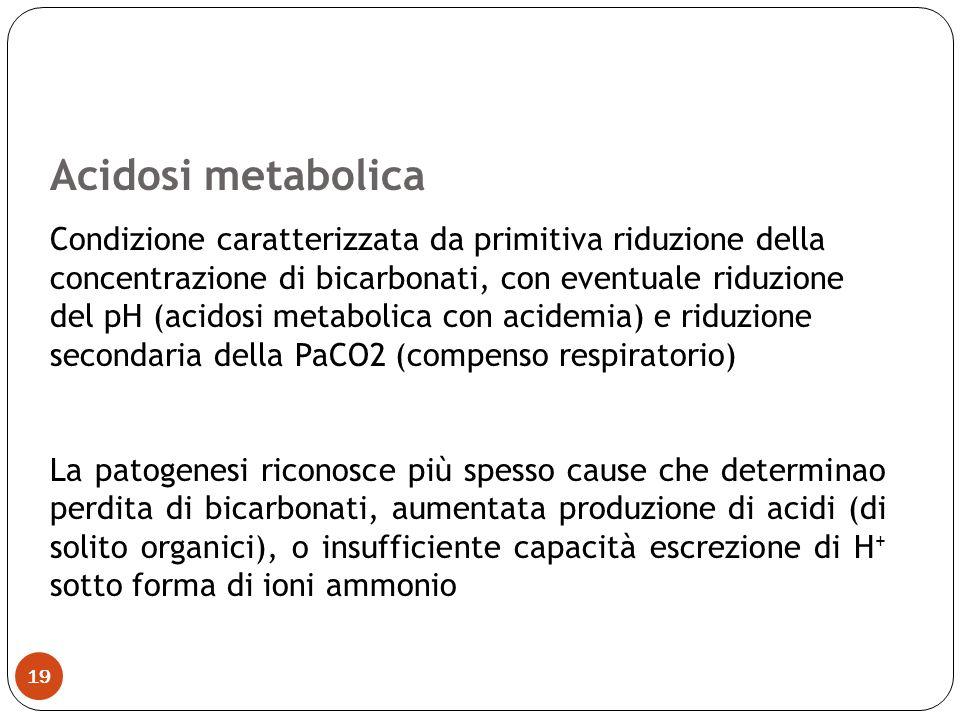 Acidosi metabolica Condizione caratterizzata da primitiva riduzione della concentrazione di bicarbonati, con eventuale riduzione del pH (acidosi metab