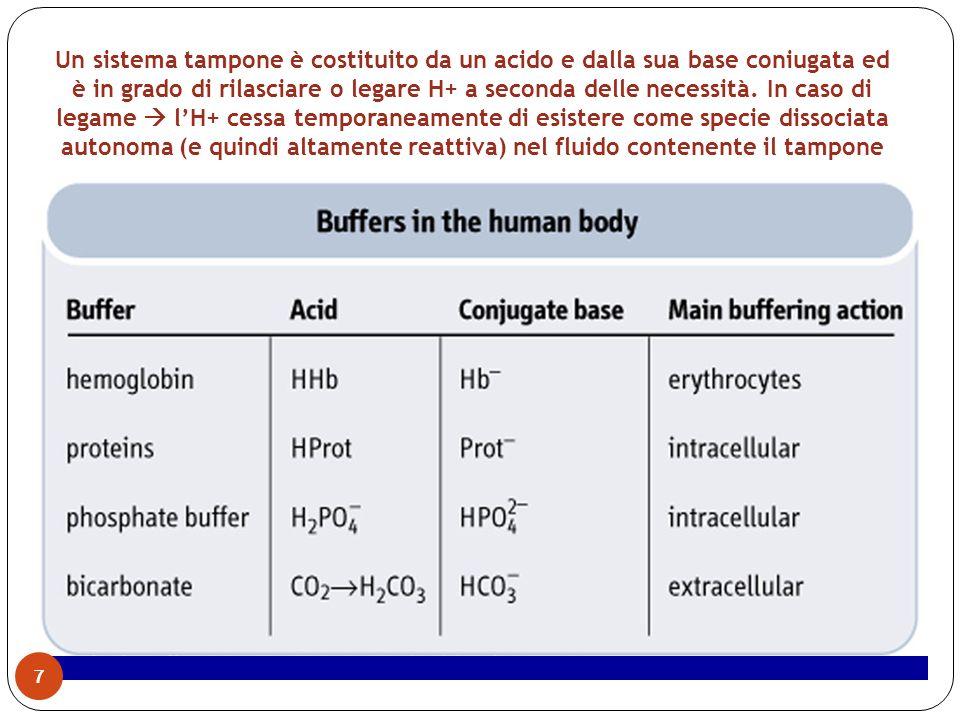 Un sistema tampone è costituito da un acido e dalla sua base coniugata ed è in grado di rilasciare o legare H+ a seconda delle necessità. In caso di l