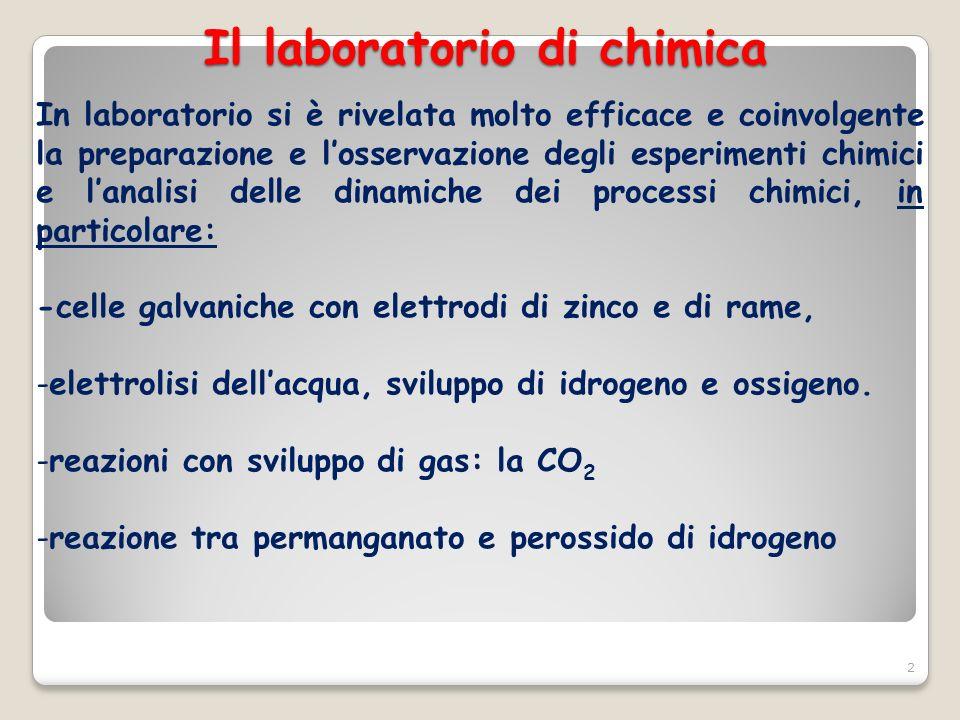 Il laboratorio di chimica 2 In laboratorio si è rivelata molto efficace e coinvolgente la preparazione e losservazione degli esperimenti chimici e lan