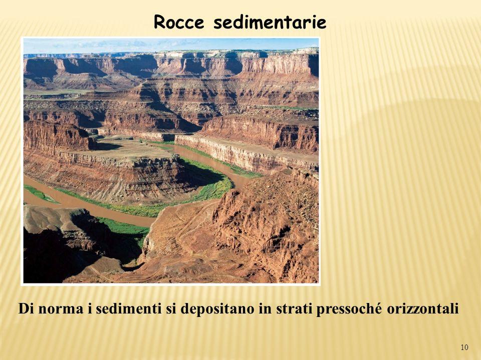 Rocce sedimentarie 10 Di norma i sedimenti si depositano in strati pressoché orizzontali
