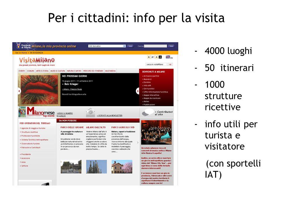 Per i cittadini: info per la visita -4000 luoghi -50 itinerari -1000 strutture ricettive -info utili per turista e visitatore (con sportelli IAT)