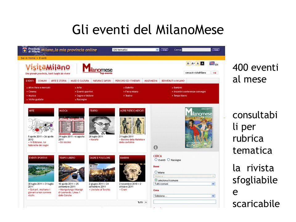 Gli eventi del MilanoMese 400 eventi al mese consultabi li per rubrica tematica la rivista sfogliabile e scaricabile
