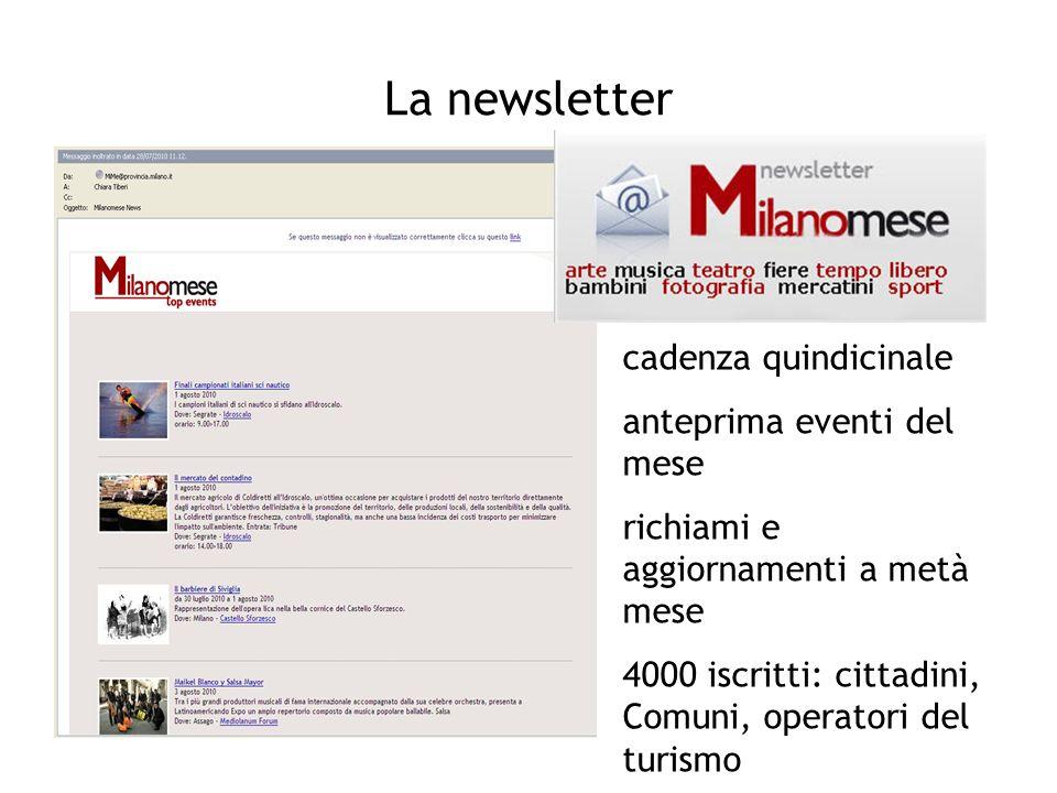 La newsletter cadenza quindicinale anteprima eventi del mese richiami e aggiornamenti a metà mese 4000 iscritti: cittadini, Comuni, operatori del turi