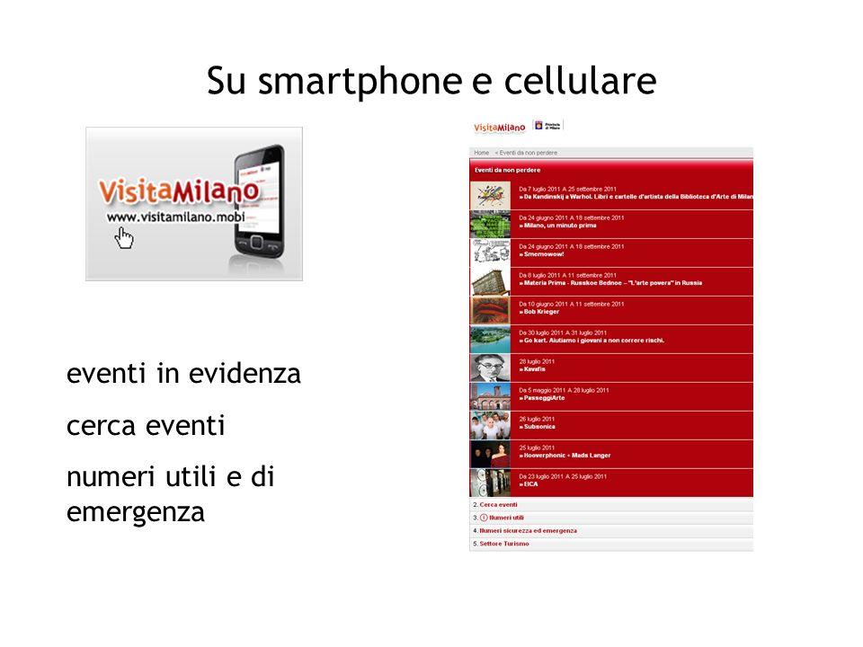 Su smartphone e cellulare eventi in evidenza cerca eventi numeri utili e di emergenza