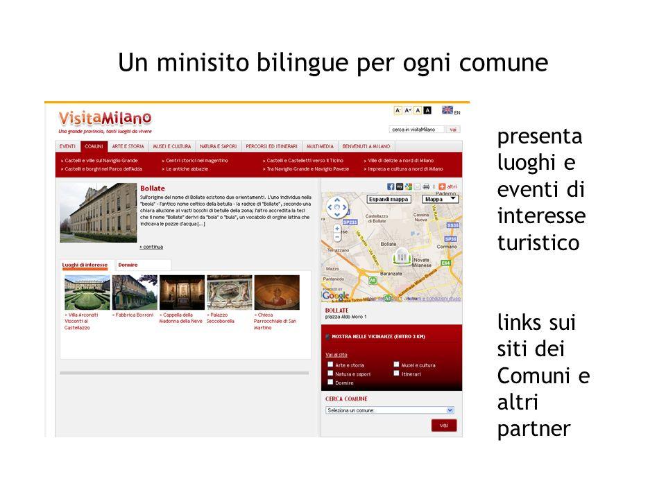 Un minisito bilingue per ogni comune presenta luoghi e eventi di interesse turistico links sui siti dei Comuni e altri partner