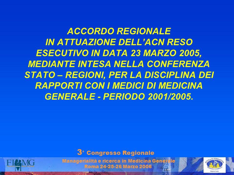 3 ° Congresso Regionale Managerialità e ricerca in Medicina Generale Roma 24-25-26 Marzo 2006 ACCORDO REGIONALE IN ATTUAZIONE DELLACN RESO ESECUTIVO I
