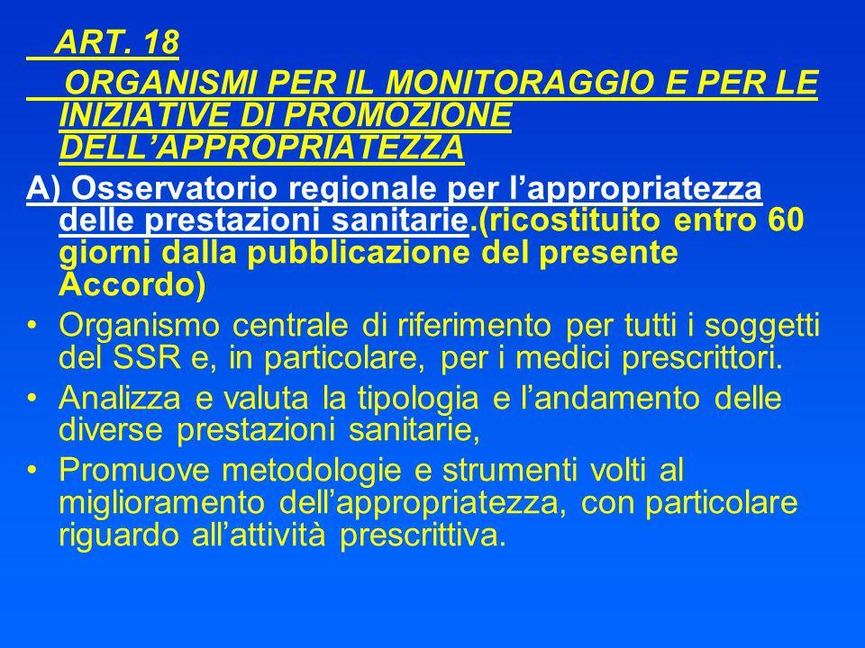 ART. 18 ORGANISMI PER IL MONITORAGGIO E PER LE INIZIATIVE DI PROMOZIONE DELLAPPROPRIATEZZA A) Osservatorio regionale per lappropriatezza delle prestaz