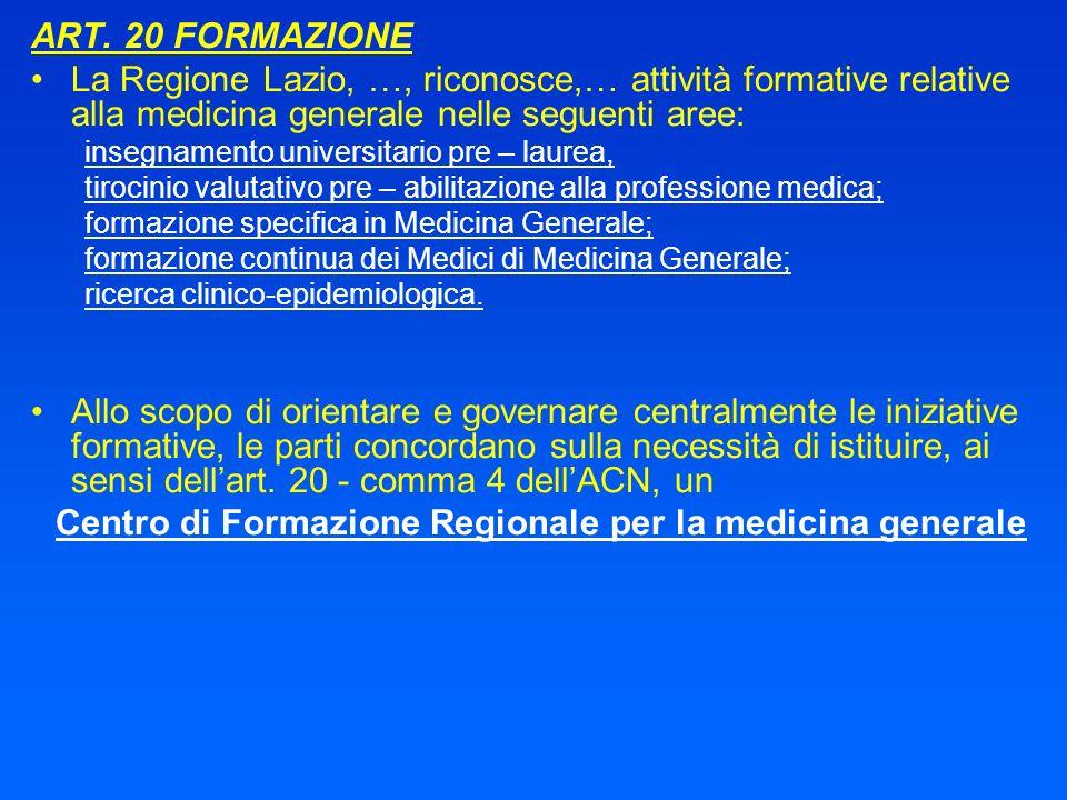 ART. 20 FORMAZIONE La Regione Lazio, …, riconosce,… attività formative relative alla medicina generale nelle seguenti aree: insegnamento universitario