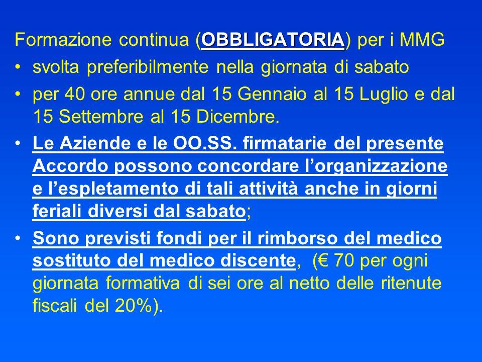 OBBLIGATORIA Formazione continua (OBBLIGATORIA) per i MMG svolta preferibilmente nella giornata di sabato per 40 ore annue dal 15 Gennaio al 15 Luglio