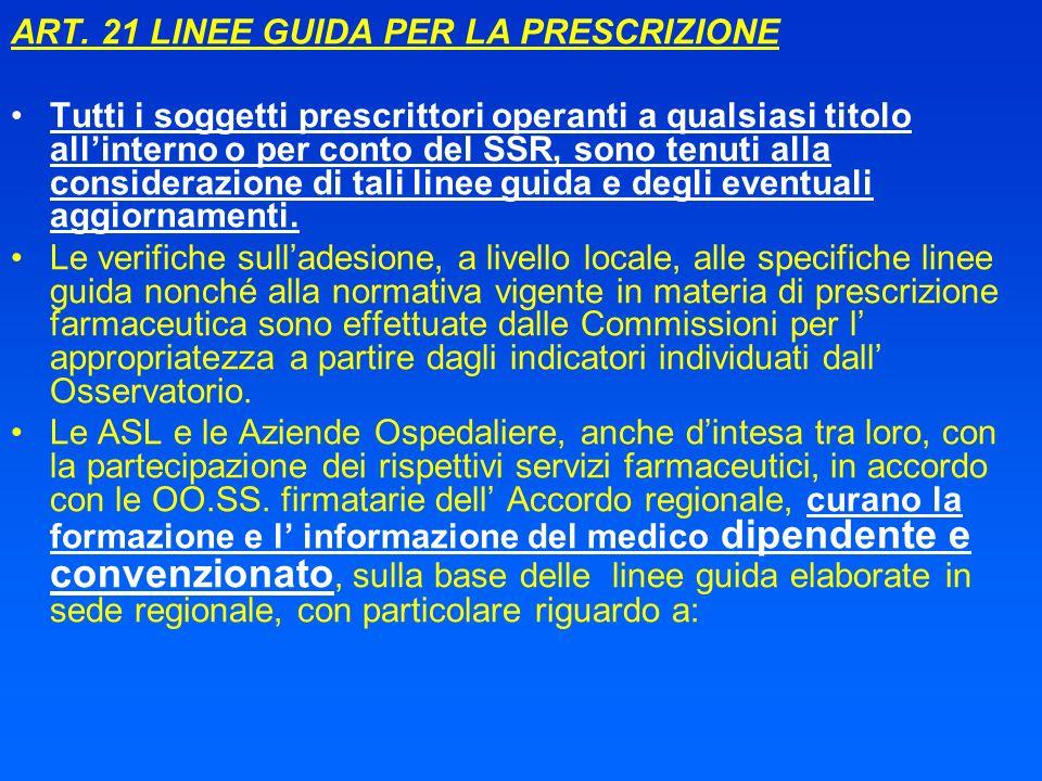 ART. 21 LINEE GUIDA PER LA PRESCRIZIONE Tutti i soggetti prescrittori operanti a qualsiasi titolo allinterno o per conto del SSR, sono tenuti alla con
