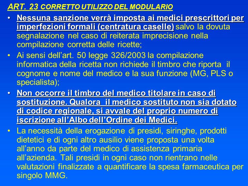ART. 23 CORRETTO UTILIZZO DEL MODULARIO Nessuna sanzione verrà imposta ai medici prescrittori per imperfezioni formali (centratura caselle)Nessuna san