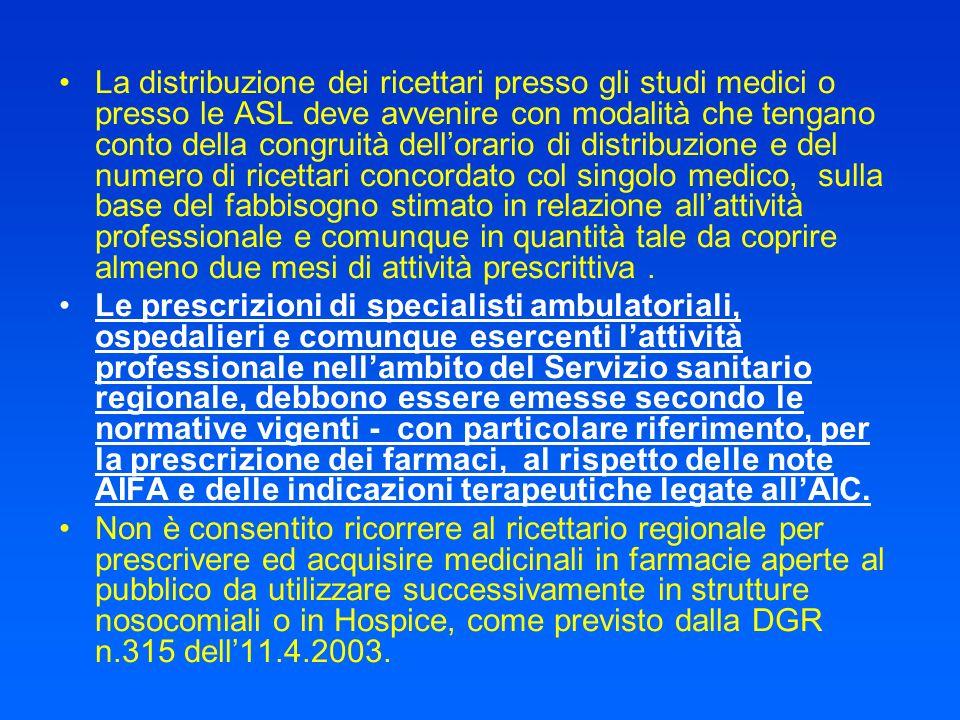 La distribuzione dei ricettari presso gli studi medici o presso le ASL deve avvenire con modalità che tengano conto della congruità dellorario di dist