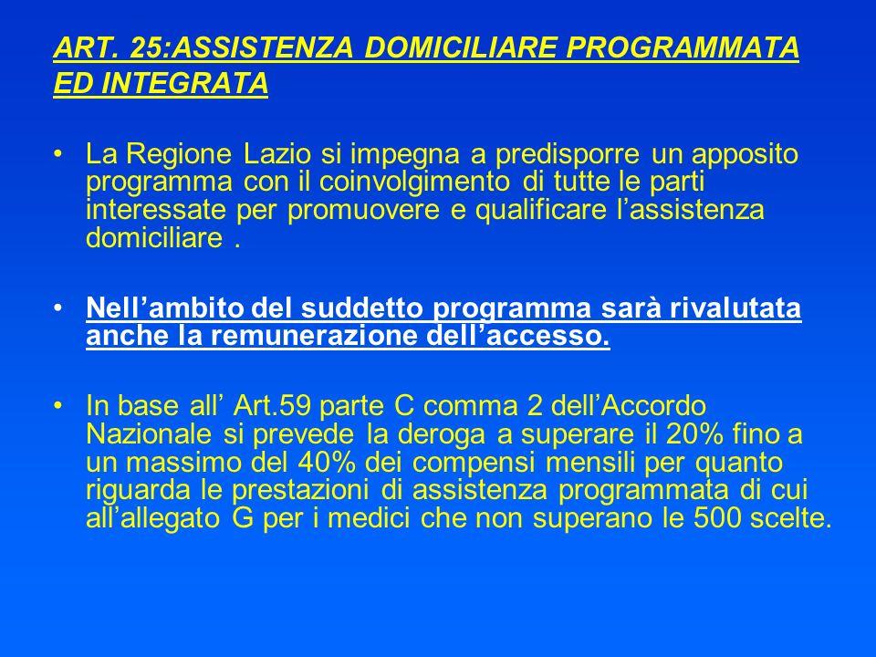 ART. 25:ASSISTENZA DOMICILIARE PROGRAMMATA ED INTEGRATA La Regione Lazio si impegna a predisporre un apposito programma con il coinvolgimento di tutte