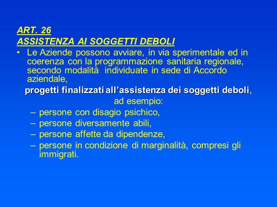 ART. 26 ASSISTENZA AI SOGGETTI DEBOLI Le Aziende possono avviare, in via sperimentale ed in coerenza con la programmazione sanitaria regionale, second