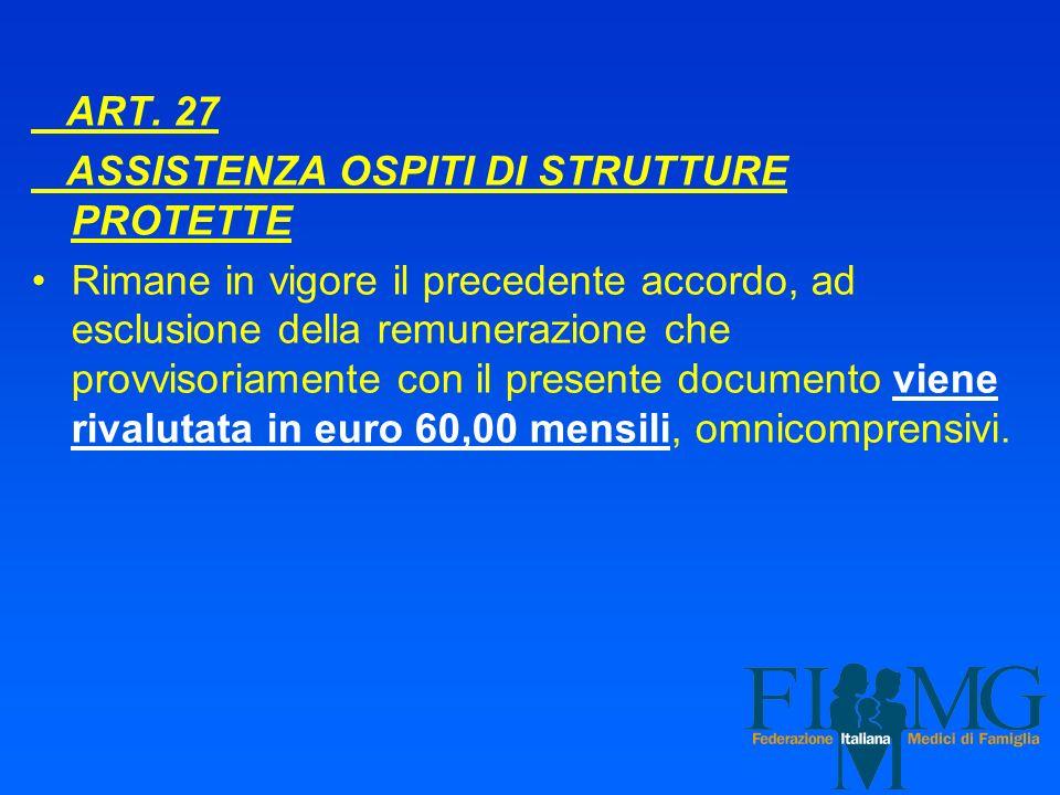 ART. 27 ASSISTENZA OSPITI DI STRUTTURE PROTETTE Rimane in vigore il precedente accordo, ad esclusione della remunerazione che provvisoriamente con il