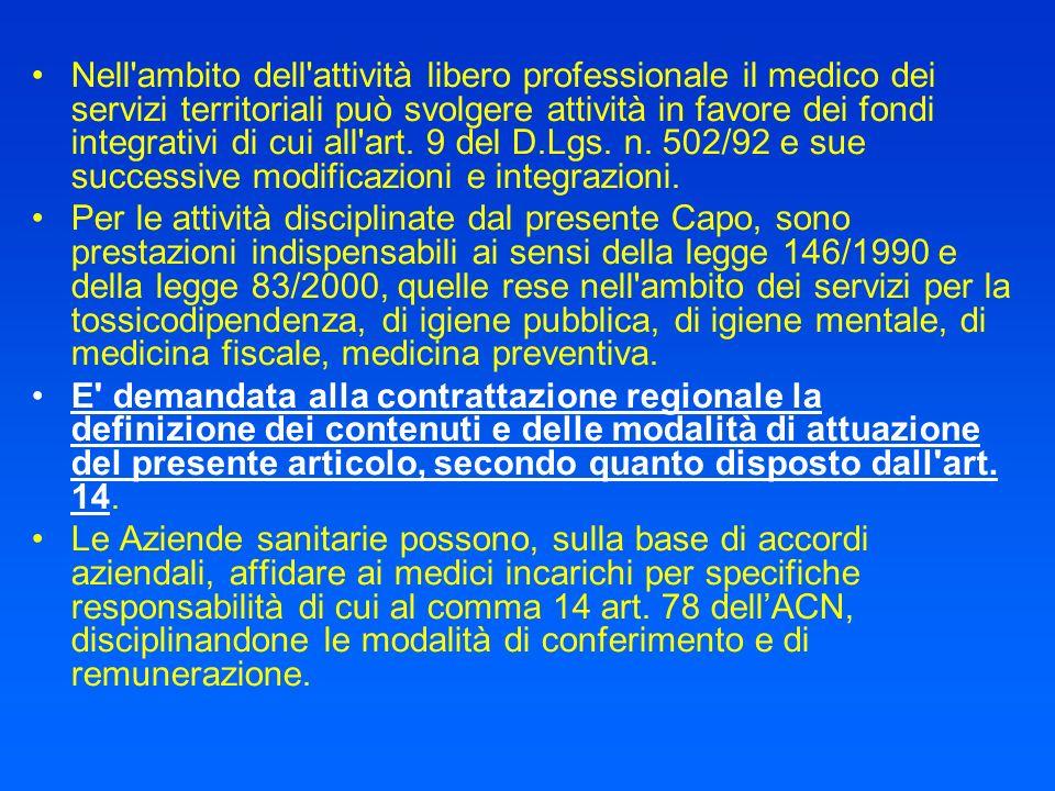Nell'ambito dell'attività libero professionale il medico dei servizi territoriali può svolgere attività in favore dei fondi integrativi di cui all'art
