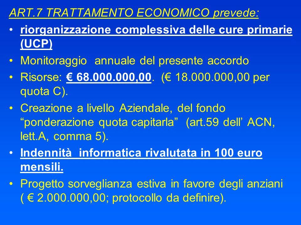 ART.7 TRATTAMENTO ECONOMICO prevede: riorganizzazione complessiva delle cure primarie (UCP) Monitoraggio annuale del presente accordo Risorse: 68.000.