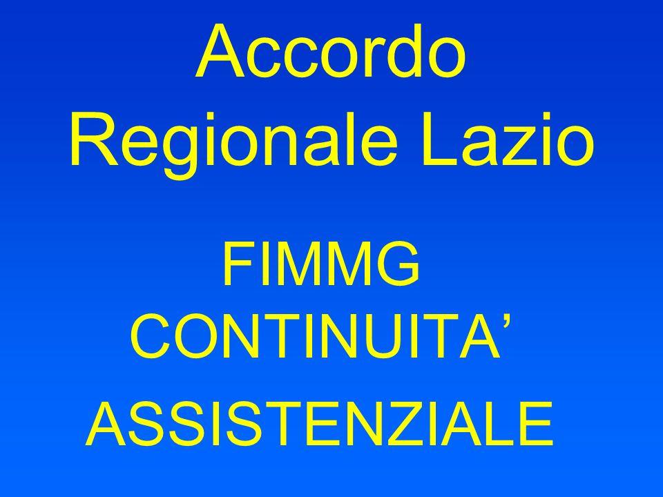 Accordo Regionale Lazio FIMMG CONTINUITA ASSISTENZIALE