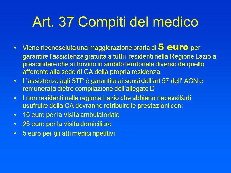 Art. 37 Compiti del medico Viene riconosciuta una maggiorazione oraria di 5 euro per garantire lassistenza gratuita a tutti i residenti nella Regione