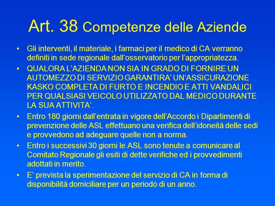 Art. 38 Competenze delle Aziende Gli interventi, il materiale, i farmaci per il medico di CA verranno definiti in sede regionale dallosservatorio per