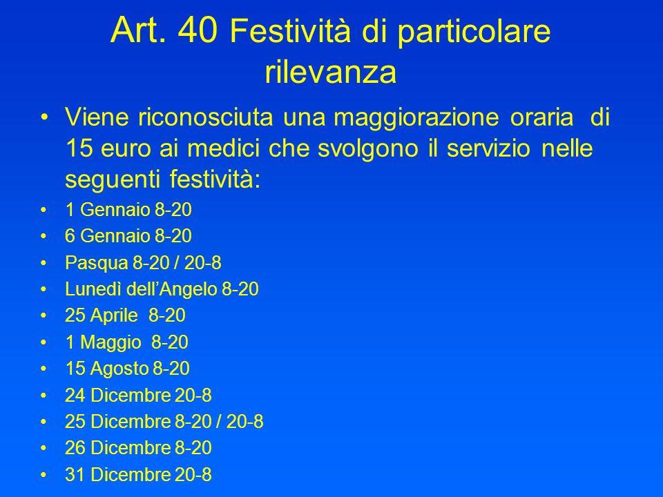 Art. 40 Festività di particolare rilevanza Viene riconosciuta una maggiorazione oraria di 15 euro ai medici che svolgono il servizio nelle seguenti fe