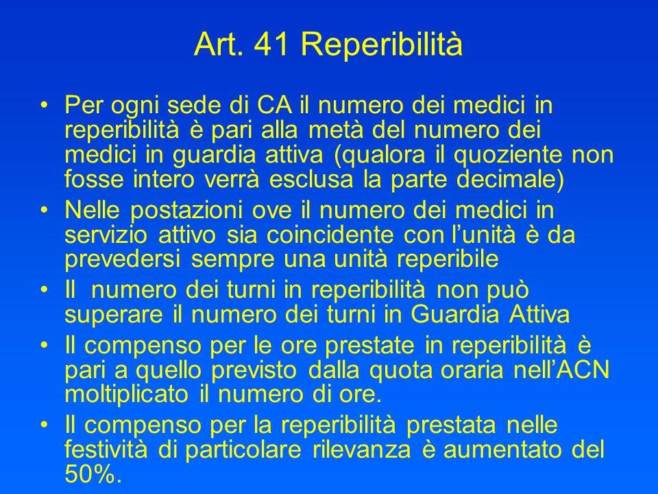 Art. 41 Reperibilità Per ogni sede di CA il numero dei medici in reperibilità è pari alla metà del numero dei medici in guardia attiva (qualora il quo